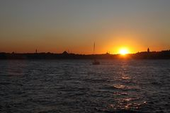 Um por do sol de Istambul Foto de Stock Royalty Free