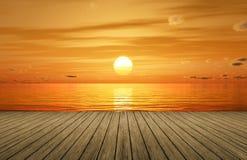 um por do sol dourado bonito sobre o oceano e um molhe de madeira ilustração stock