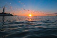 Um por do sol morno e delicado Fotos de Stock Royalty Free