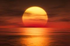 Um por do sol sobre o mar ilustração do vetor