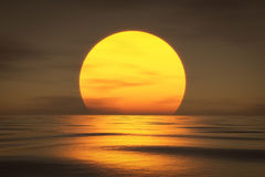 Um por do sol sobre o mar ilustração royalty free