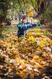 Um pouco de menino que joga com as folhas de outono na jarda fotos de stock royalty free