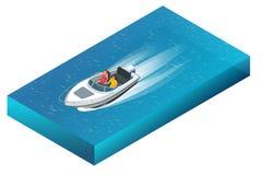 Um powerboat luxuoso com o homem e a mulher que cruzam através das águas azuis bonitas Ilustração isométrica do vetor 3d liso ilustração stock