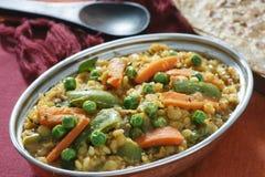 Um prato dal é uma combinação de trigo, de lentilhas e de especiarias frescas Imagem de Stock Royalty Free