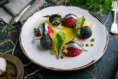 Um prato dos arenques e dos legumes frescos cozinhados por um cozinheiro chefe imagens de stock