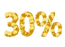 um preço de 30 por cento eliminado O disconto dourado inventa as letras isoladas no fundo branco Fotos de Stock Royalty Free