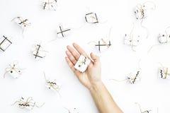 Um presente pequeno em uma mão do ` s da mulher entre outros presentes em um fundo branco Fotos de Stock Royalty Free