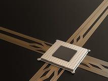 Um processador (microchip) interconectou a recepção e a emissão da informação Conceito da tecnologia e do futuro Fotografia de Stock Royalty Free