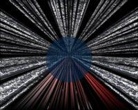 Um projeto abstrato gráfico com um rolamento da bola e umas linhas vermelhas e de prata fotos de stock royalty free