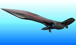 Um projeto futurista de um jato supersônico do negócio do passageiro é projetado para voos intercontinentais ilustração do vetor