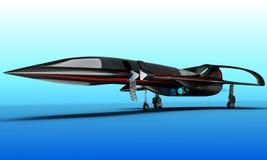 Um projeto futurista de um jato supersônico do negócio do passageiro é projetado para voos intercontinentais ilustração royalty free