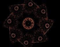 Um projeto moderno gerado por computador abstrato do fractal no fundo escuro Textura abstrata da cor do fractal Twirl vermelho de Imagem de Stock Royalty Free