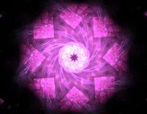 Um projeto moderno gerado por computador abstrato do fractal no fundo escuro Textura abstrata da cor do fractal Twirl vermelho de Imagem de Stock