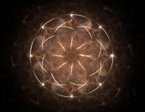 Um projeto moderno gerado por computador abstrato do fractal no fundo escuro Textura abstrata da cor do fractal Twirl vermelho de Foto de Stock Royalty Free