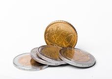 Um punhado dos euro e de euro- centavos Fotografia de Stock