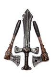 Um punhal e dois machados isolados Fotografia de Stock