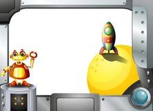 Um quadro do metal com um robô e um foguete ilustração do vetor