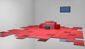Um quarto com tapete, o sofá extravagante e uma tevê Fotos de Stock Royalty Free