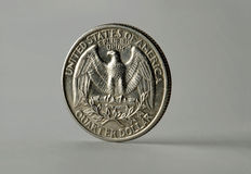 Um quarto de dólar Fotos de Stock Royalty Free
