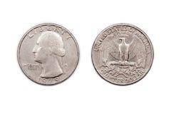 Um quarto de dólar Imagens de Stock Royalty Free