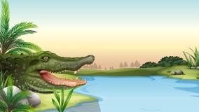 Um réptil no rio ilustração royalty free