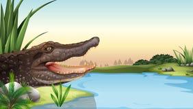 Um réptil perto do rio ilustração royalty free
