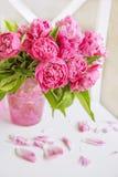 Um ramalhete bonito de peônias cor-de-rosa Interior brilhante, delicado Imagem de Stock
