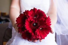 Um ramalhete da flor nas mãos Fotos de Stock