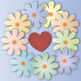 Um ramalhete das flores com um coração Fotos de Stock