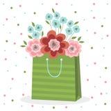 Um ramalhete de flores cor-de-rosa e azuis em um saco de papel verde Ilustração do vetor no fundo branco com pontos ilustração stock