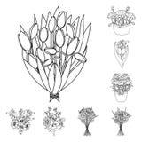 Um ramalhete de flores frescas esboça ícones na coleção do grupo para o projeto Vária Web do estoque do símbolo do vetor dos rama Fotos de Stock Royalty Free