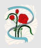 Um ramalhete de três rosas vermelhas em uma fita Pintado ao estilo da velha escola ou do vintage Imagem de Stock Royalty Free
