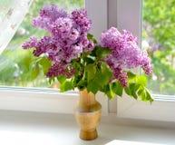 Um ramalhete dos lilás na janela, iluminado pelo sol Fotografia de Stock Royalty Free