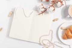 Um ramo do algodão e uma xícara de café com leite em um fundo claro Vista superior Copie o espaço imagem de stock