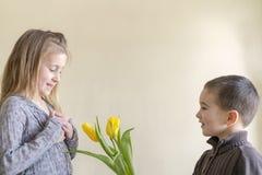 Um rapaz pequeno bonito dá flores a uma menina que seja mais idosa do que ele O conceito do amor e da amizade foto de stock