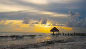 Um rapaz pequeno em uma praia tropical video estoque