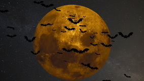 Um rebanho dos bastões no fundo de uma grande lua amarela ilustração royalty free