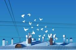 Um rebanho dos pássaros voa sobre o telhado do vetor do dia Imagens de Stock Royalty Free