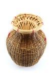 Um recipiente de bambu para peixes travados no fundo branco Imagens de Stock Royalty Free