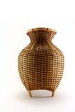Um recipiente de bambu para peixes travados no fundo branco Imagem de Stock Royalty Free