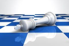Um rei derrotado em um tabuleiro de xadrez ilustração do vetor