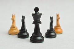 Um rei preto com as quatro partes do cavaleiro Fotos de Stock Royalty Free