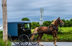 Um relance do estilo de vida tradicional na vila de Amish, Pensilvânia fotos de stock