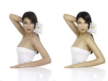 Um retrato da beleza de uma jovem mulher que olha sobre seu ombro, wi fotos de stock