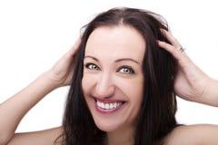 Um retrato da cara bonita com os olhos bonitos - isolados no branco foto de stock royalty free
