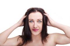 Um retrato da cara bonita com os olhos bonitos - isolados no branco fotografia de stock