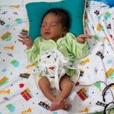 Um retrato de um menino 42 dias de idade carregado em um nascimento dos l?tus Ao contr?rio dos beb?s geralmente, o cabo de cord?o fotos de stock royalty free