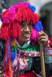 Um retrato de um executor na parada do primeiro de maio em Cusco, Peru Fotografia de Stock Royalty Free