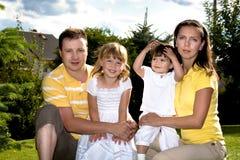 Um retrato do verão do close up de uma família feliz imagem de stock royalty free