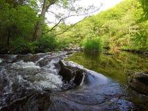 Um rio de fluxo em Devon foto de stock